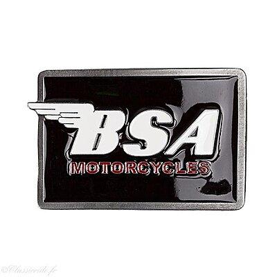 Boucle de ceinture BSA rectangulaire logo Blanc sur fond Noir
