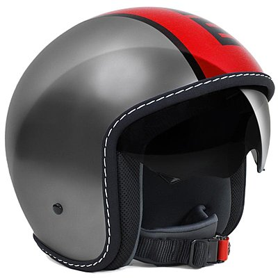 Casque Momo Design Blade gris métal logo rouge