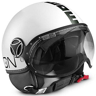 Casque Momo Design FGTR Classic Blanc brillant logo noir