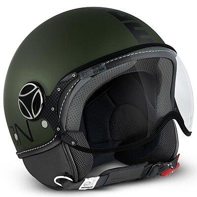 Casque Momo Design FGTR Classic Vert Militaire mat logo noir