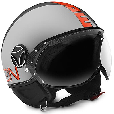 Casque Momo Design FGTR Evo gris métal logo orange fluo
