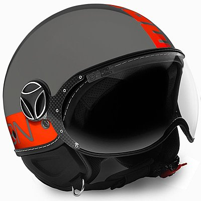 Casque Momo Design FGTR Fluo gris logo orange