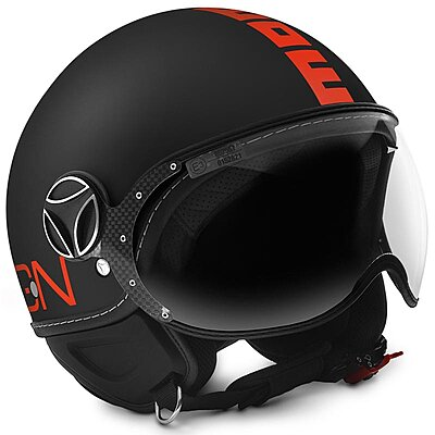 Casque Momo Design FGTR Fluo noir mat logo orange