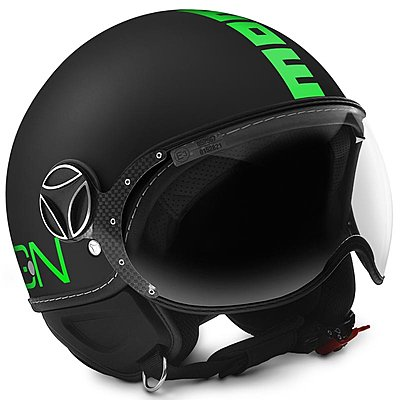Casque Momo Design FGTR Fluo noir mat logo vert