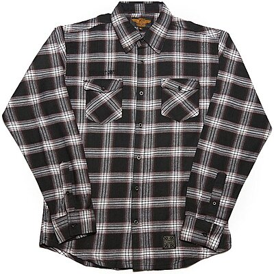 Chemise West Coast Choppers Cisco Flannel white black brown