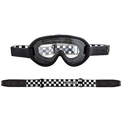 Masque Moto Ethen Scrambler Damier Noir Blanc, photochromique