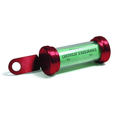 Porte vignette moto Chaft tube rouge