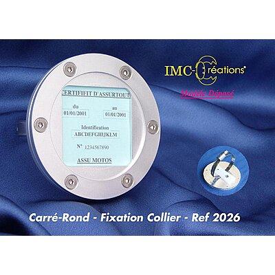 Porte assurance moto IMC carré-rond alu, fixation par collier