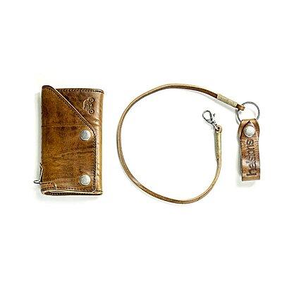 Portefeuille biker Helstons old wallet cuir marron