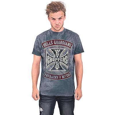 Tee shirt West Coast Choppers Hells Guardians vintage blue