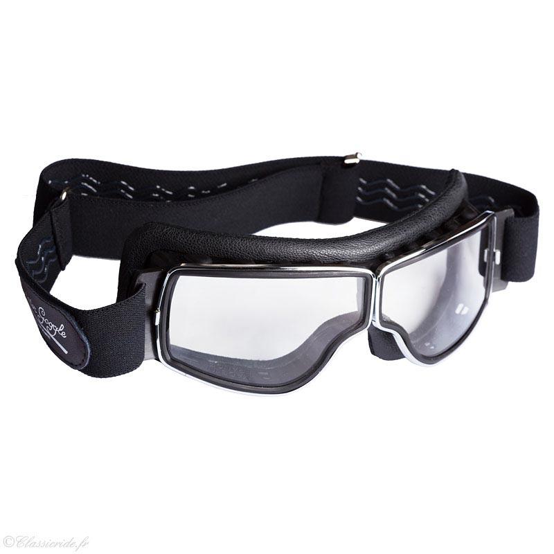 Aviator Goggle T3 chrome noir, lunettes moto vintage, aviateur cf23f2702b27