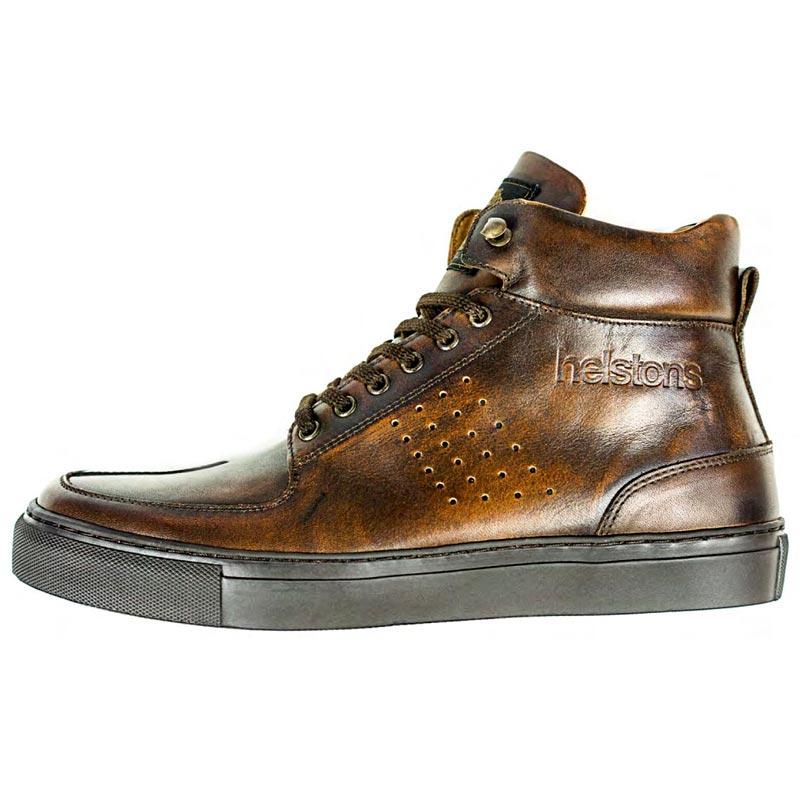 a866a4d80b0 Baskets Helstons Glenn cuir marron vieilli chaussures moto vintage CE