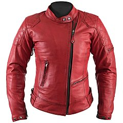 Blouson Helstons femme KS 70 cuir rag rouge