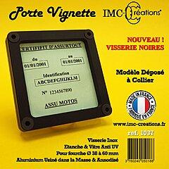 Porte assurance moto IMC carré noir, fixation par collier
