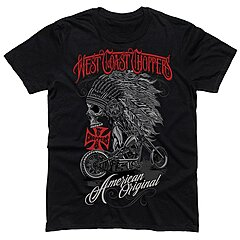 Tee shirt West Coast Choppers Chief, solid black