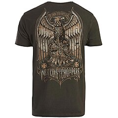 Tee shirt West Coast Choppers Eagle Crest oil dye anthracite