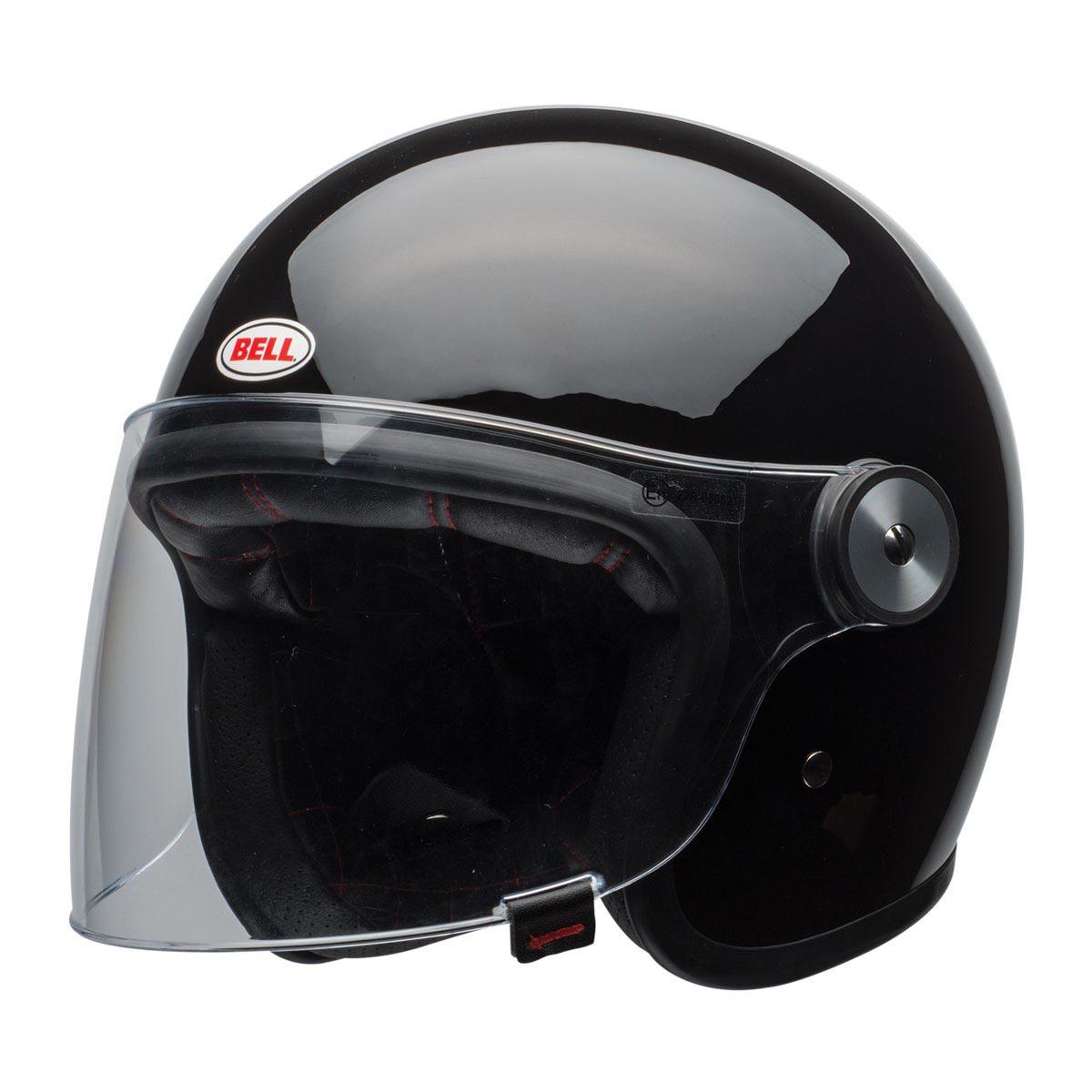 Bell Riot Solid Black Casque Moto Vintage Jet Biker Avec écran