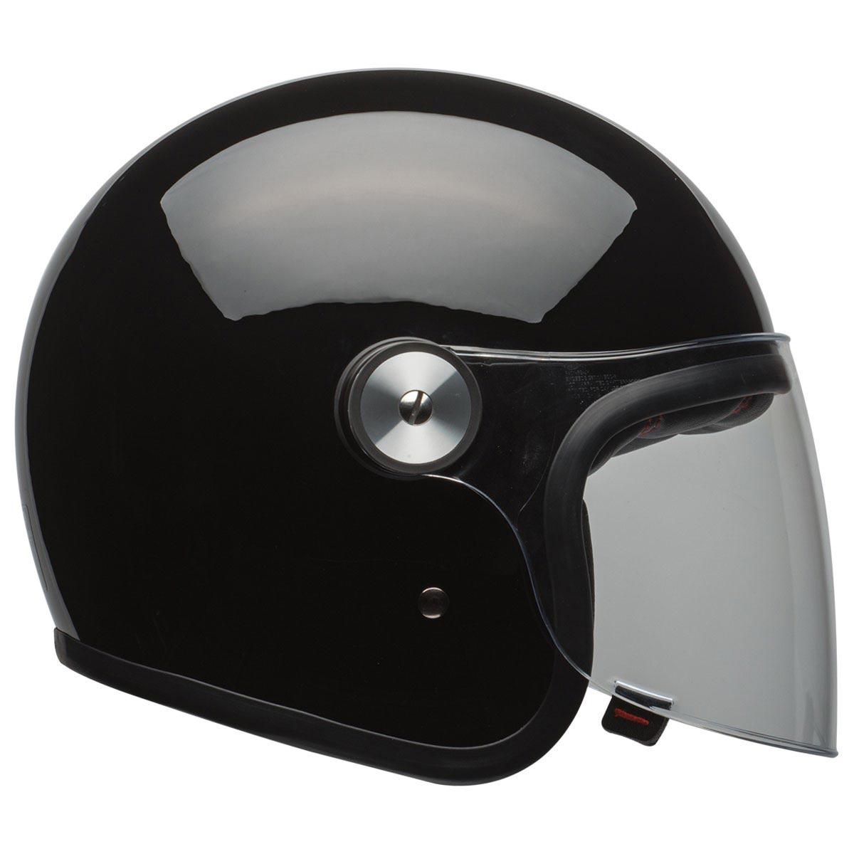 bell riot solid black casque moto vintage jet biker avec. Black Bedroom Furniture Sets. Home Design Ideas