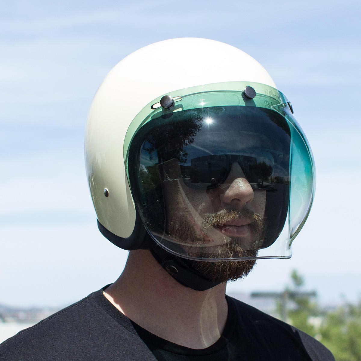 Visière Biltwell Bubble Shield Gradient Green écran Casque Moto Jet