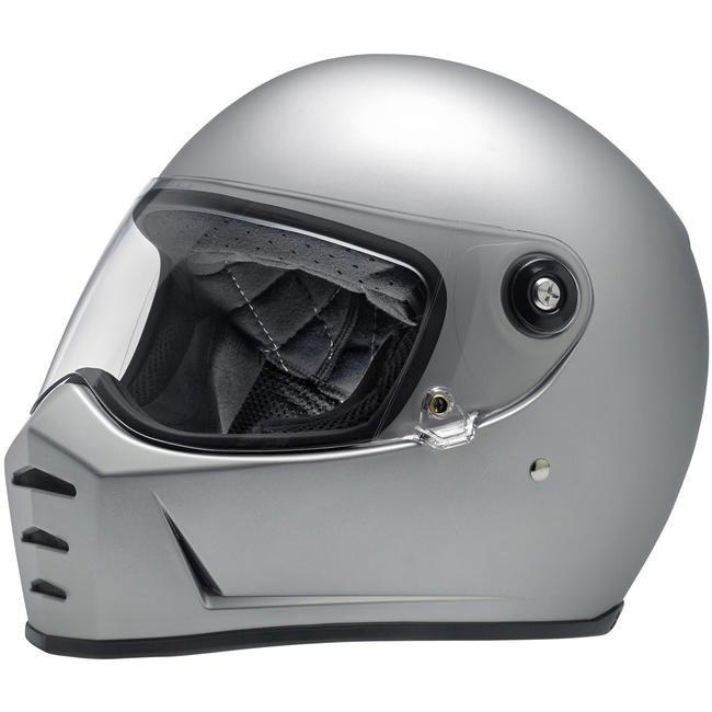 Casque Biltwell Lane Splitter Flat Silver Intégral Moto Custom