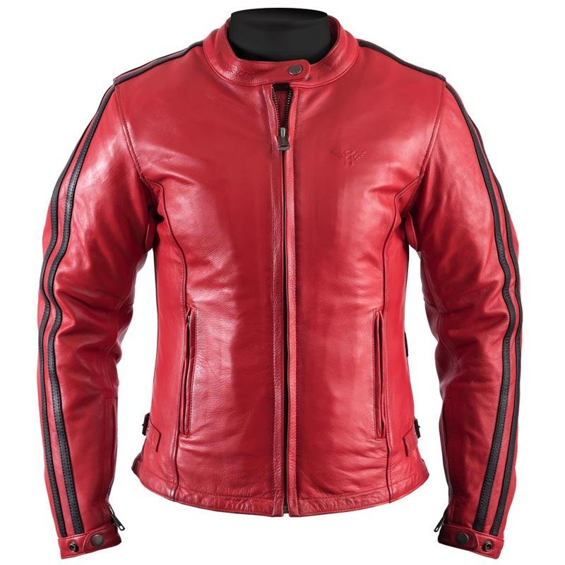 Blouson cuir rouge et noir femme