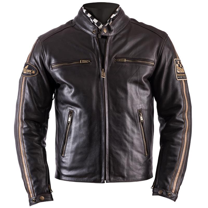 blouson helstons ace cuir fender marron veste moto homme ce. Black Bedroom Furniture Sets. Home Design Ideas