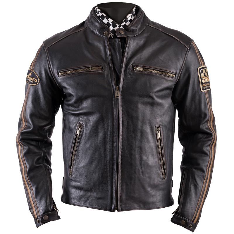 blouson helstons ace cuir oldies marron moto vintage homme. Black Bedroom Furniture Sets. Home Design Ideas