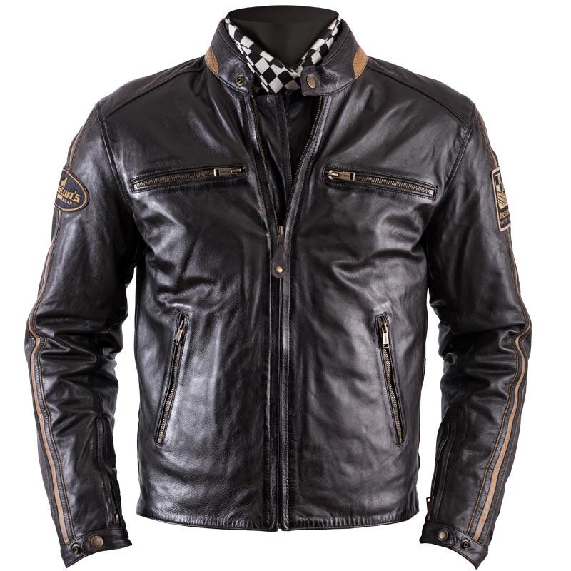 blouson helstons ace cuir rag marron veste moto biker homme. Black Bedroom Furniture Sets. Home Design Ideas