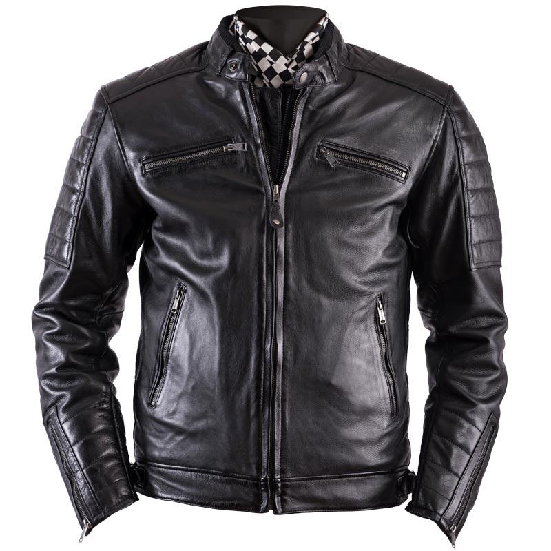 blouson helstons cruiser cuir rag noir moto vintage homme. Black Bedroom Furniture Sets. Home Design Ideas