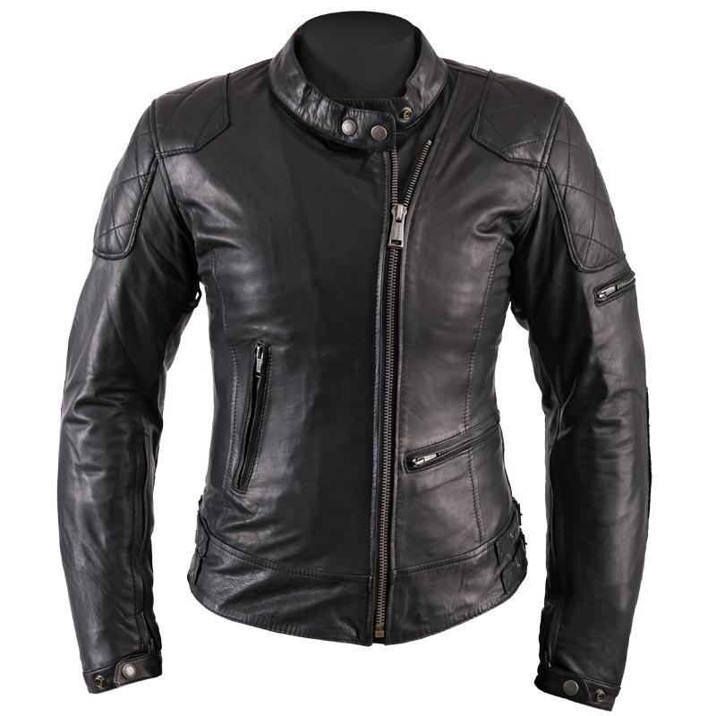 blouson moto femme helstons ks 70 cuir rag noir vintage ks70. Black Bedroom Furniture Sets. Home Design Ideas