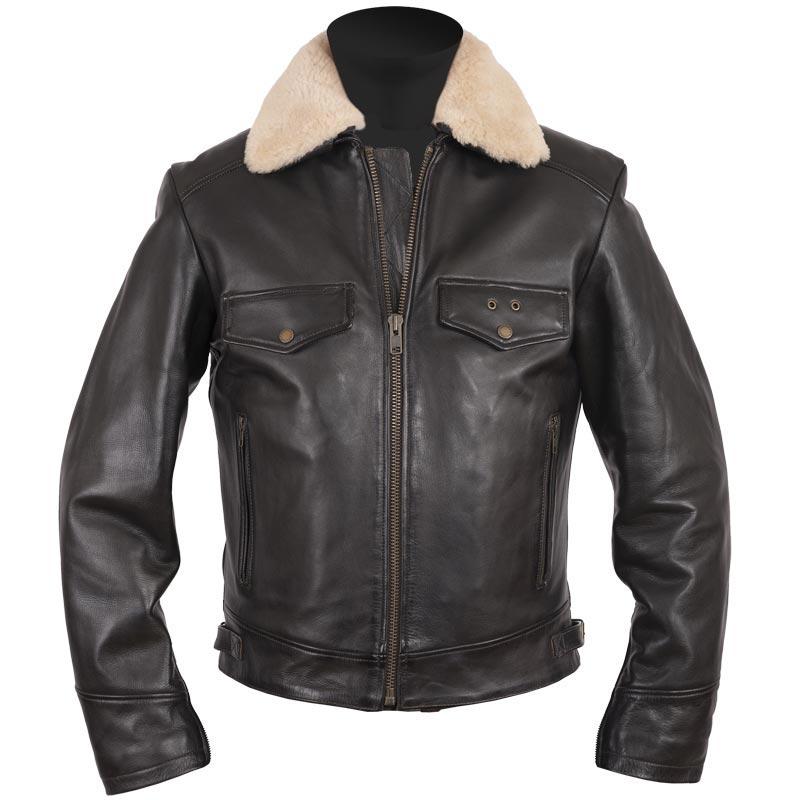 Blouson moto Helstons Gang cuir rag, aviateur vintage mouton