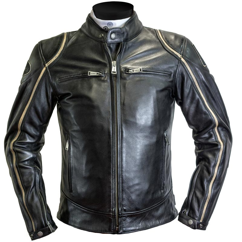 blouson helstons modelo cuir rag noir beige moto vintage homme. Black Bedroom Furniture Sets. Home Design Ideas