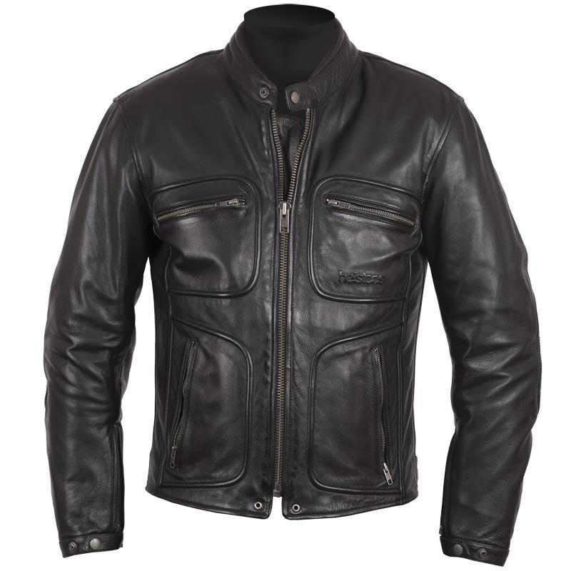blouson moto helstons reno cuir l ger rag noir biker homme. Black Bedroom Furniture Sets. Home Design Ideas