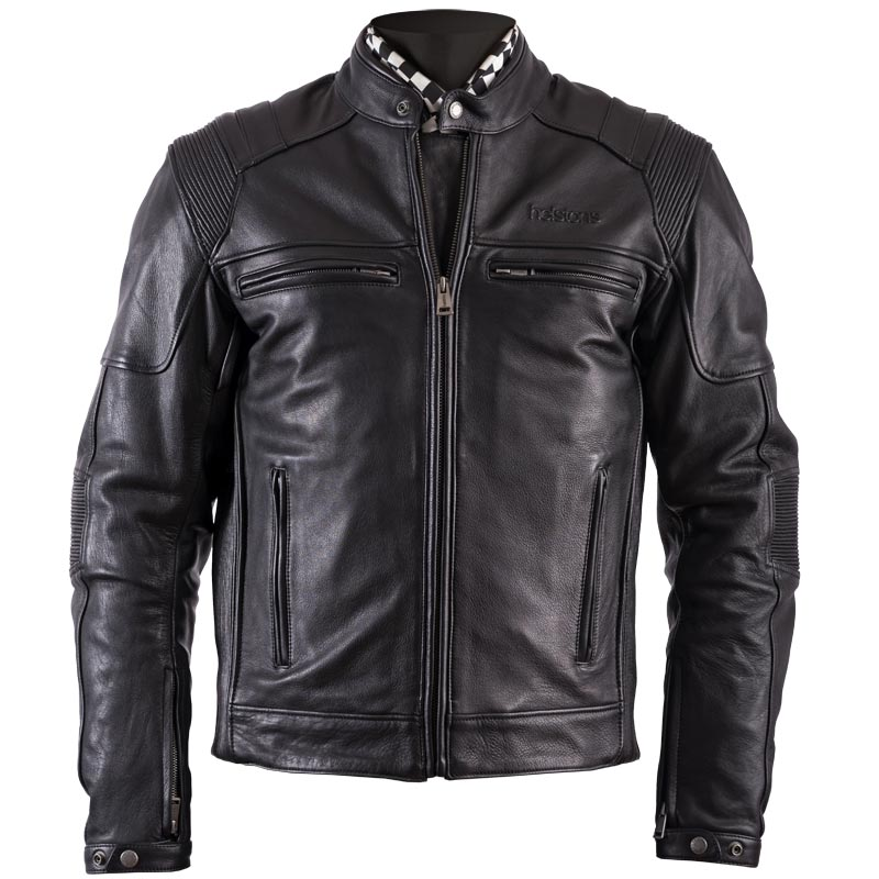 blouson helstons trust cuir plain noir biker homme harley custom. Black Bedroom Furniture Sets. Home Design Ideas