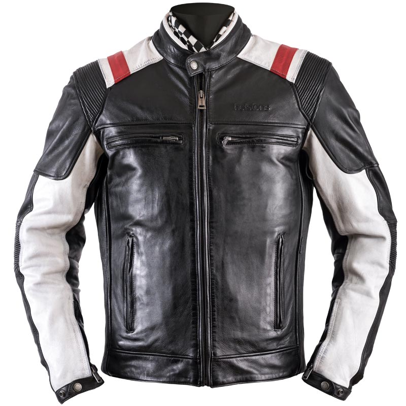 blouson helstons trust cuir rag noir blanc rouge biker homme. Black Bedroom Furniture Sets. Home Design Ideas