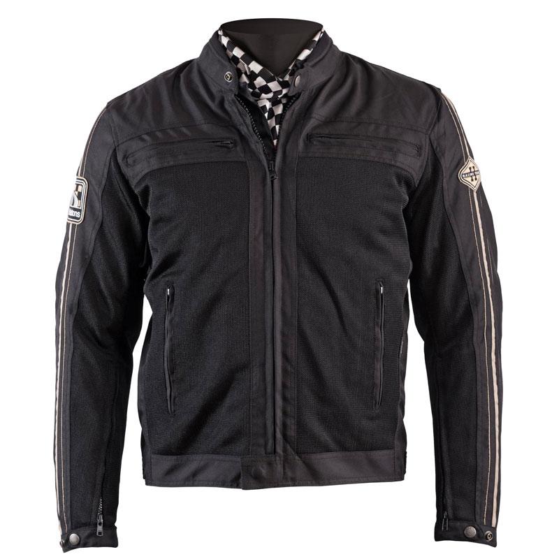 8b5beabc058 Blouson moto été homme Helstons Wall mesh noir textile vintage