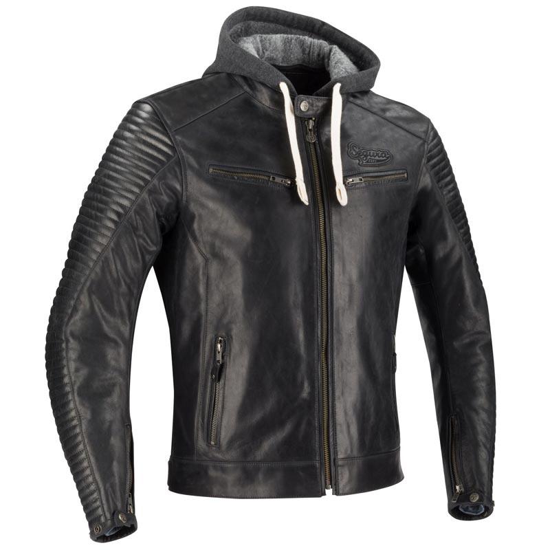 2cb73ce36666b1 Blouson moto homme en cuir noir, avec capuche type sweat shirt amovible,  équipement homologué CE EPI. REF   1S1350
