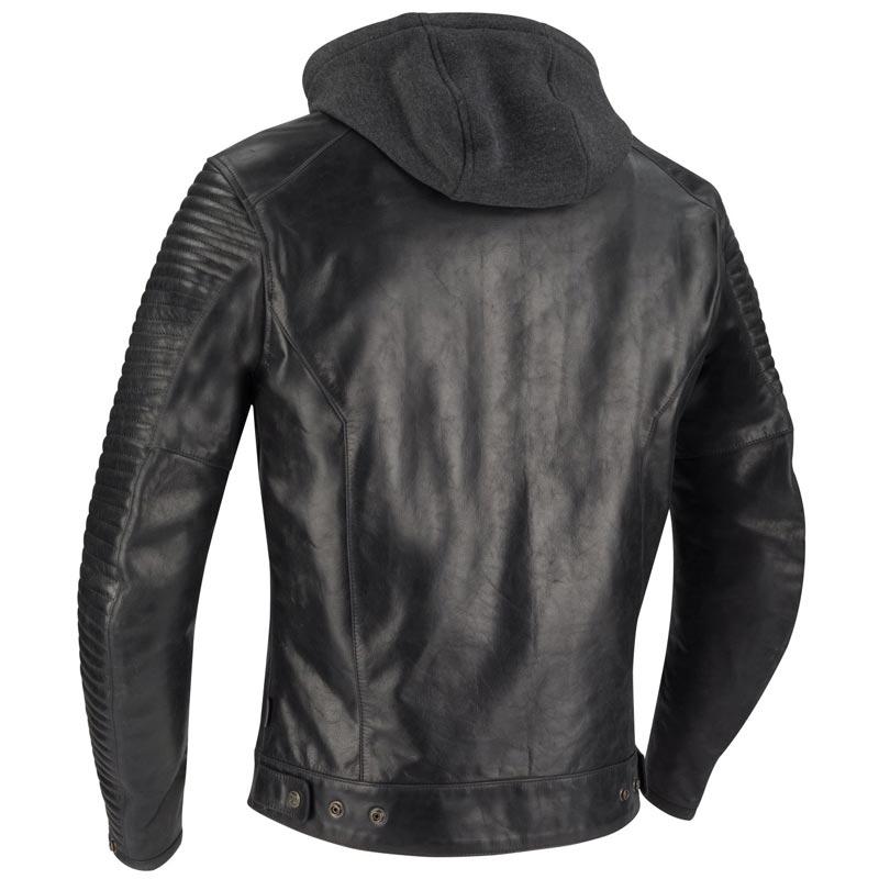 Blouson Segura Dorian noir, blouson moto cuir, capuche amovible