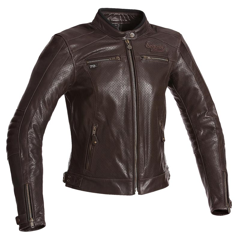 blouson segura femme lady iron marron cuir moto t vintage. Black Bedroom Furniture Sets. Home Design Ideas