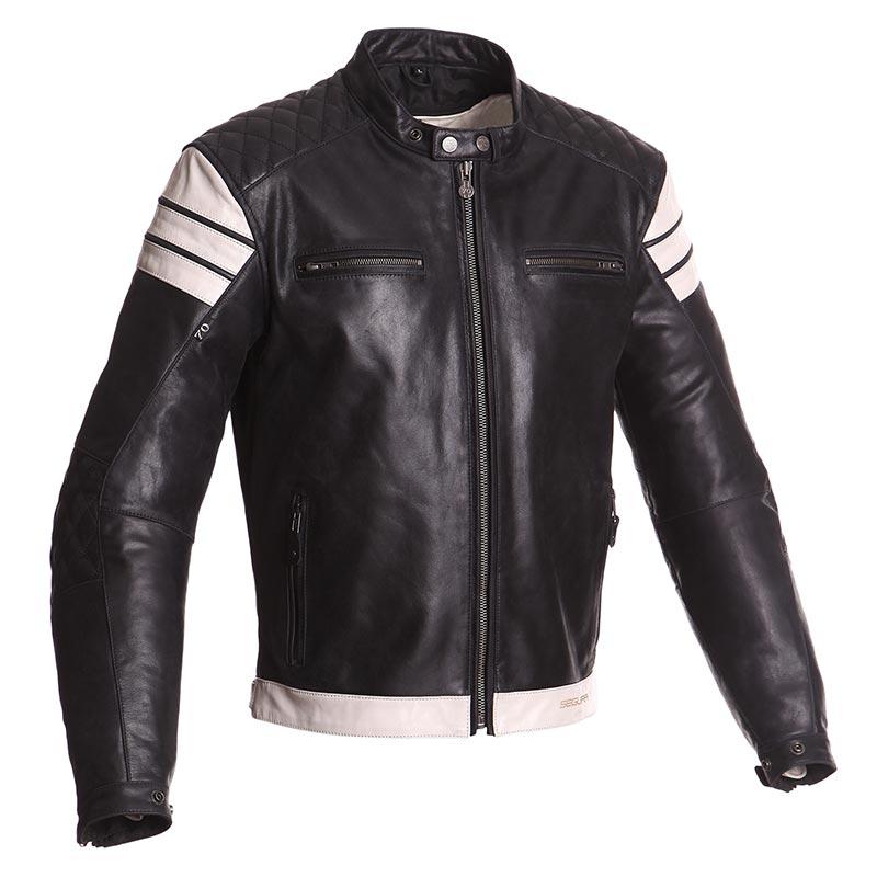 blouson segura looping noir cru veste moto cuir vintage. Black Bedroom Furniture Sets. Home Design Ideas