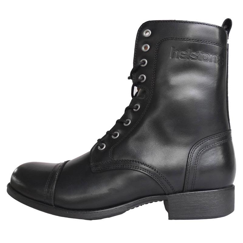 Bottes moto femme Helstons Lady cuir noir chaussures vintage
