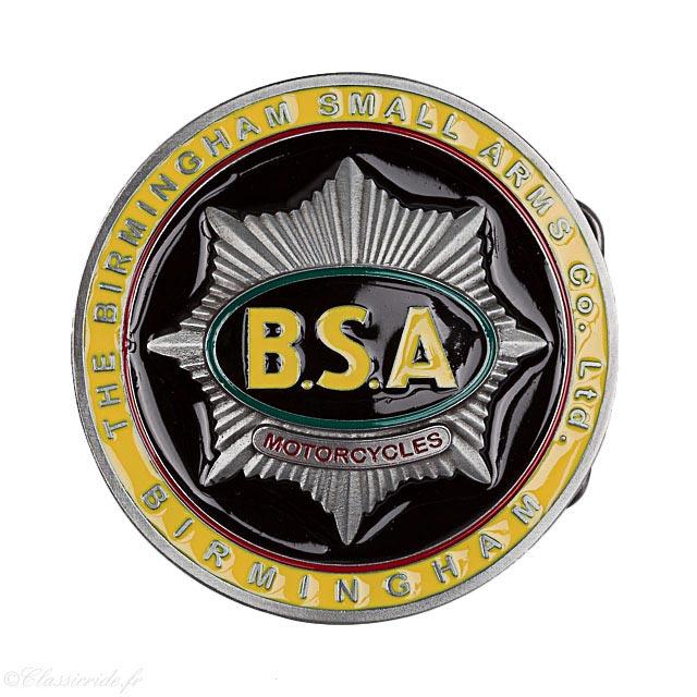 boucle ceinture moto motard biker bsa birmingham small arms jaune noir  vintage 7999f00ea74