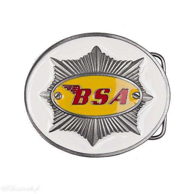 boucle ceinture moto motard biker bsa ovale jaune rouge blanc vintage e6bc49b2688