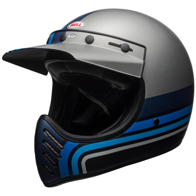 Bell Moto 3 Stripes Silver Black Blue Casque Int 233 Gral
