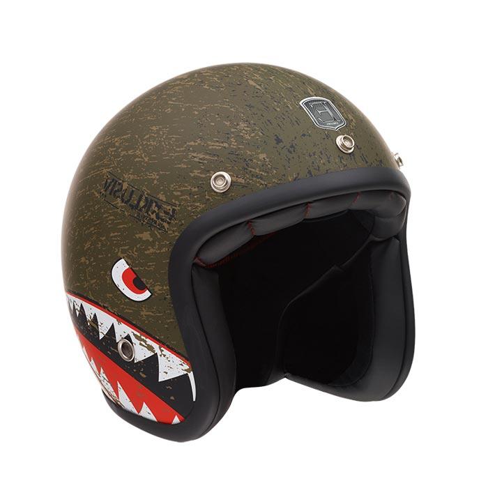 Casque Exklusiv Custom Sqwal Requin Vert Kaki Jet Moto Harley