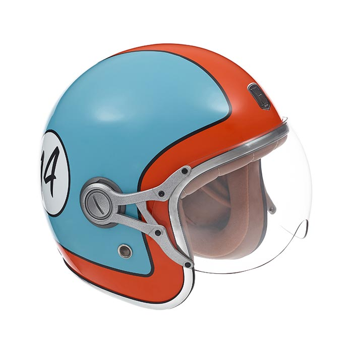 casque exklusiv rider le mans jet moto vintage gulf bleu orange. Black Bedroom Furniture Sets. Home Design Ideas