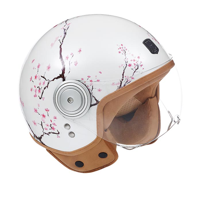 Casque Exklusiv Smart Cherry Jet Moto Scooter Fleur Rose Blanc