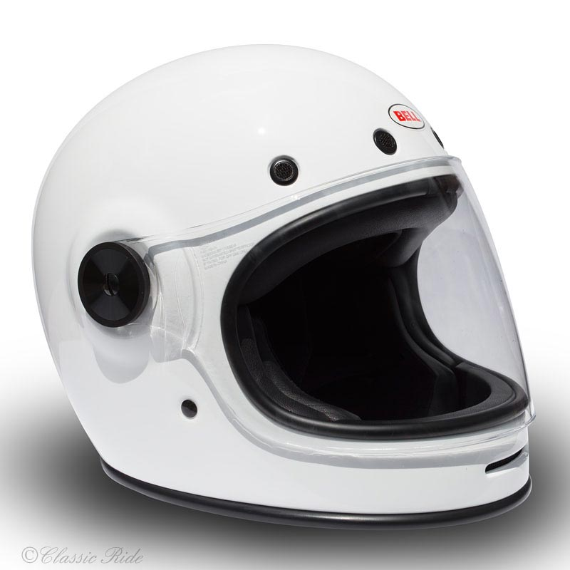 bell bullitt solid white casque moto int gral vintage. Black Bedroom Furniture Sets. Home Design Ideas