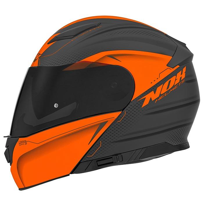 Casque Nox N965 Eko Orange Fluo Mat Casque Modulable Moto