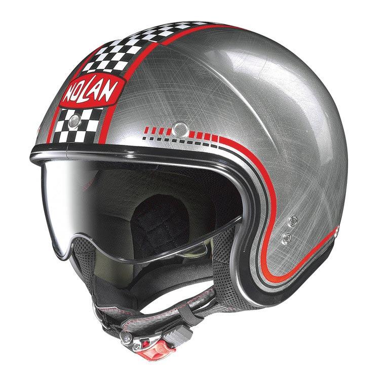 casque nolan n21 lario scratched chrome jet moto cafe racer. Black Bedroom Furniture Sets. Home Design Ideas